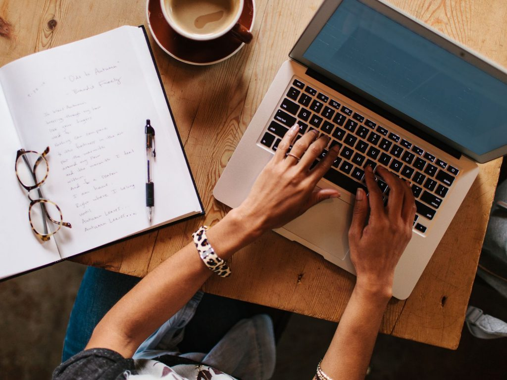 content woman laptop notebook